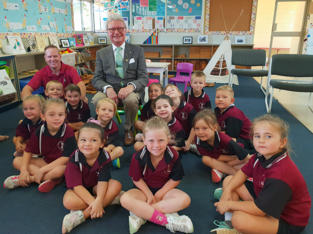 Governor Paul de Jersey at Burnett Heads State School.