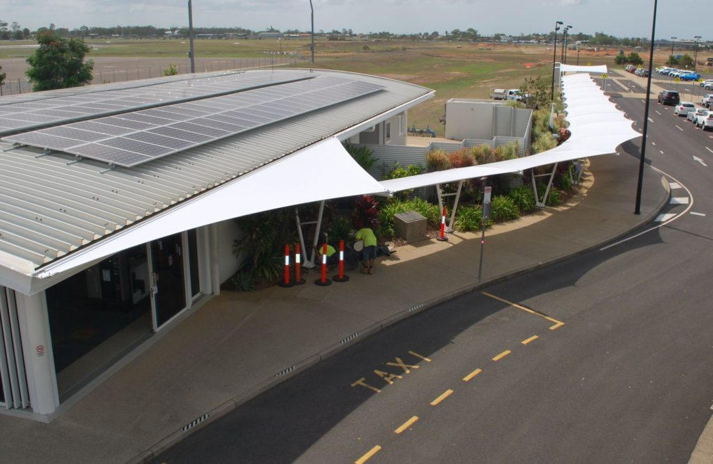 Airport walkway and shade sails