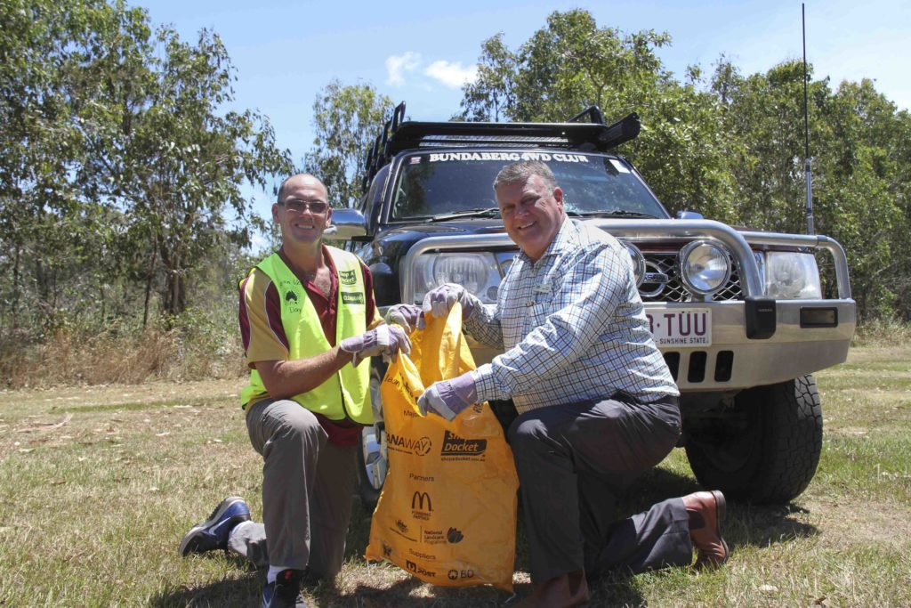 Bundaberg 4WD Club environmental officer Graham Telfer and Cr Wayne Honor are ready to clean up the region.