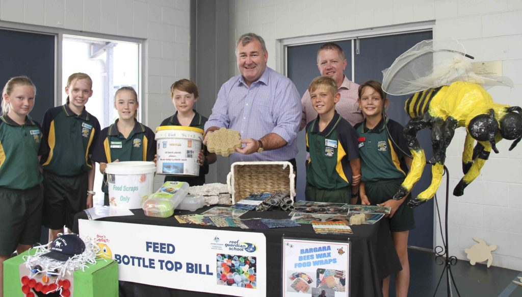 Mayor Jack Dempsey and Cr Scott Rowleson with Bargara State School Reef Guardian students