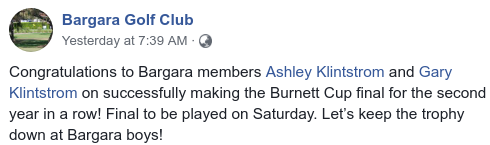 The Bargara Golf Club is hoping to keep the Burnett Cup trophy on the coast.