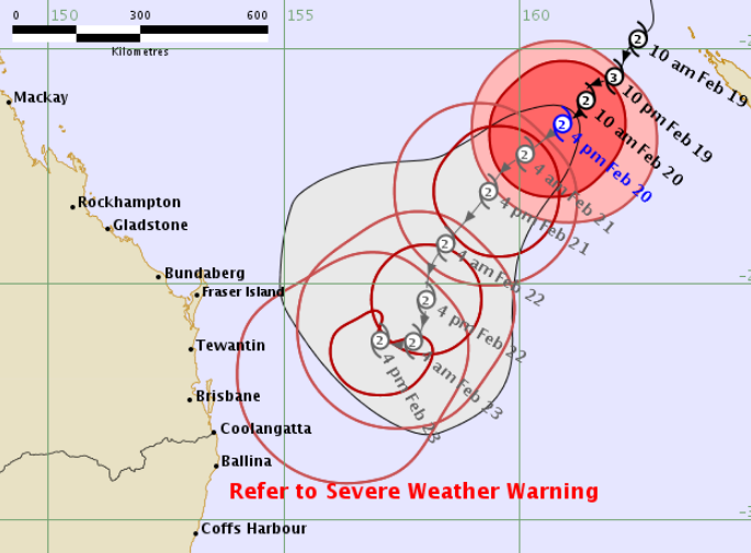 The tracking map for Tropical Cyclone Oma, issued at 5.15pm today.