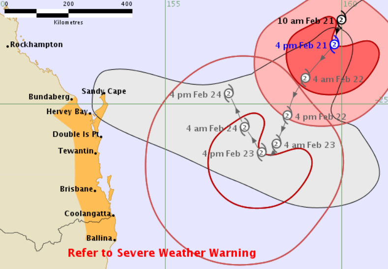 The forecast tracking map for Tropical Cyclone Oma, issued at 5pm Thursday.