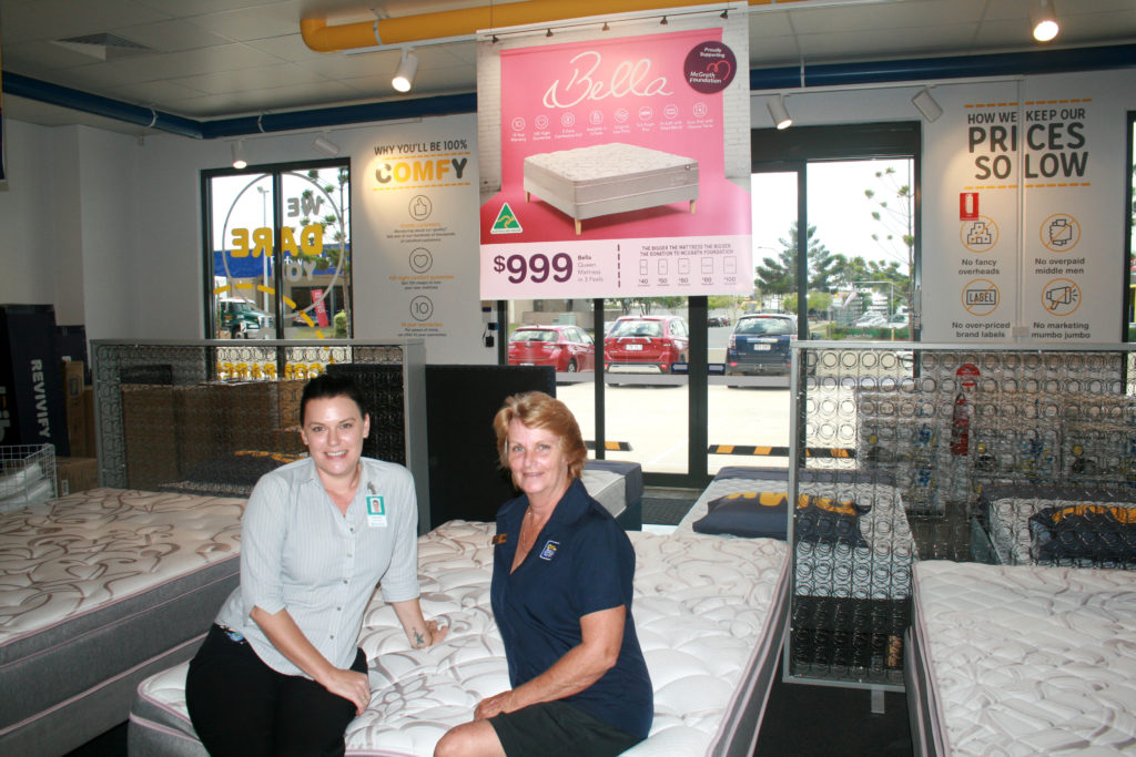 Mattress Donation: The Friendlies Foundation's Tunja Cottier and OMF's Donna Ham