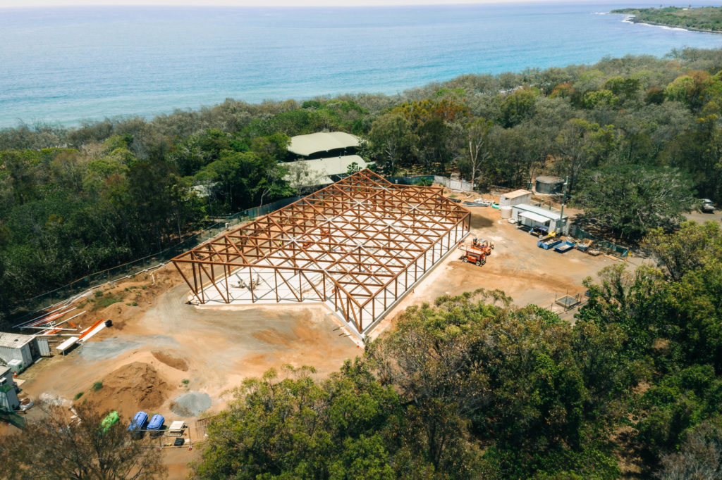 Construction progress photo of the new Mon Repos Turtle Centre. Photo: Murchie Constructions