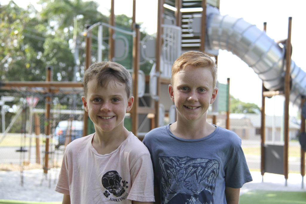 Tane and Kaelin Hart at the Bundaberg Botanic Gardens nature themed playground.