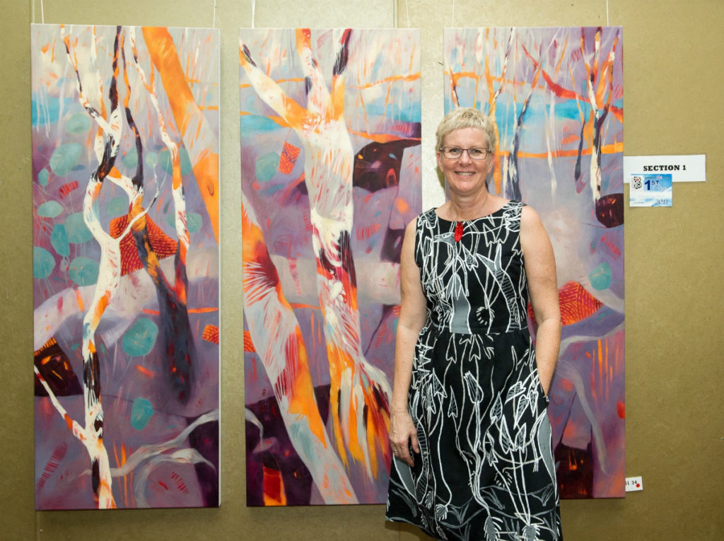 Adrienne Williams with her winning piece from the 2017 Bundaberg Arts Festival