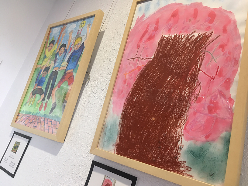 The colourful paintings at the Moncrieff Entertainment Centre.