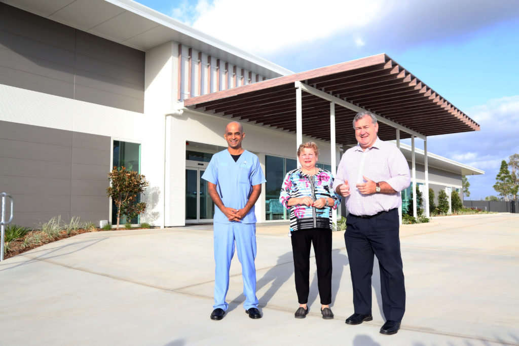 Bundaberg Private Day Hospital owner Dr Jai Panchapakesan, CEO Elizabeth Rankin and Mayor Jack Dempsey at the new Bundaberg Private Day Hospital