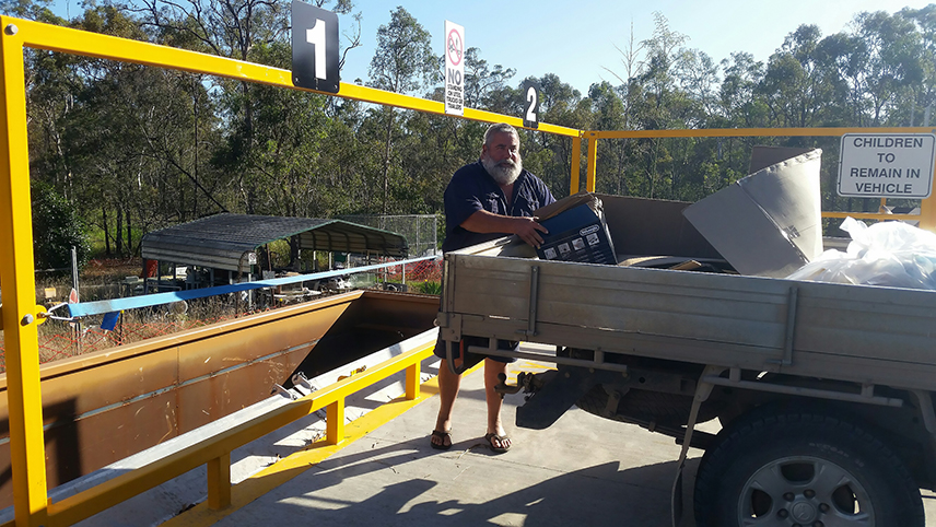Trevor Laing is the first customer to use the upgraded transfer station at Avondale Waste Facility.