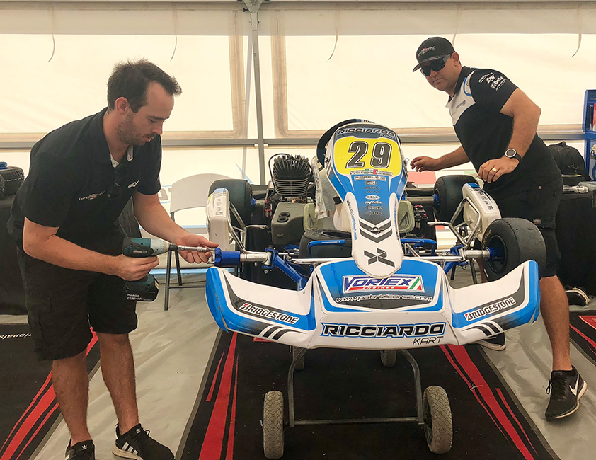Teams work on their karts in the lead up to the The Bundaberg 2019 Patrizicorse State Cup.