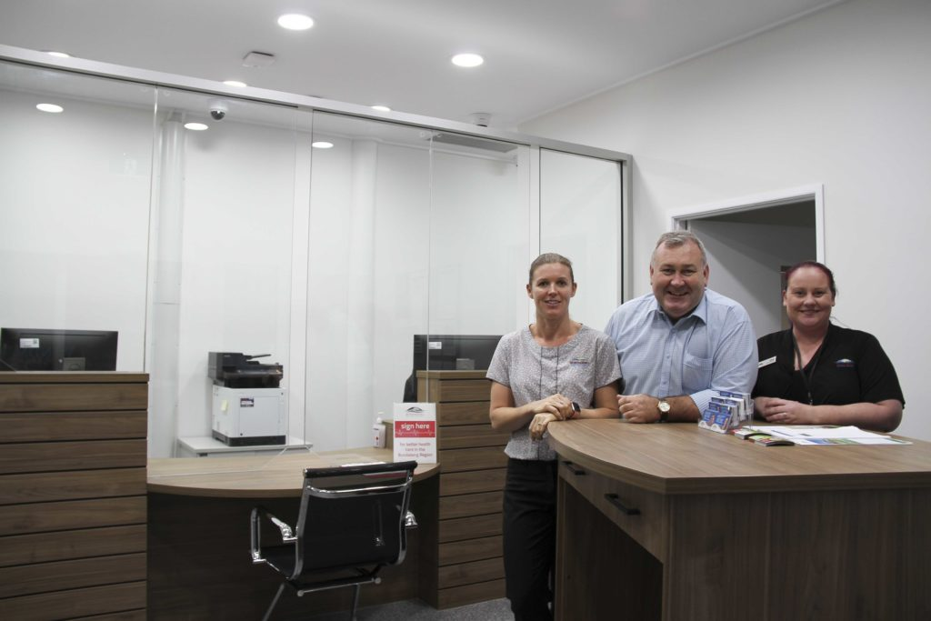 Mayor Jack Dempsey with Customer Service Officers Suzannah O'Donnell and Jasmine Kreibke at the Bargara Customer Service Centre on See St