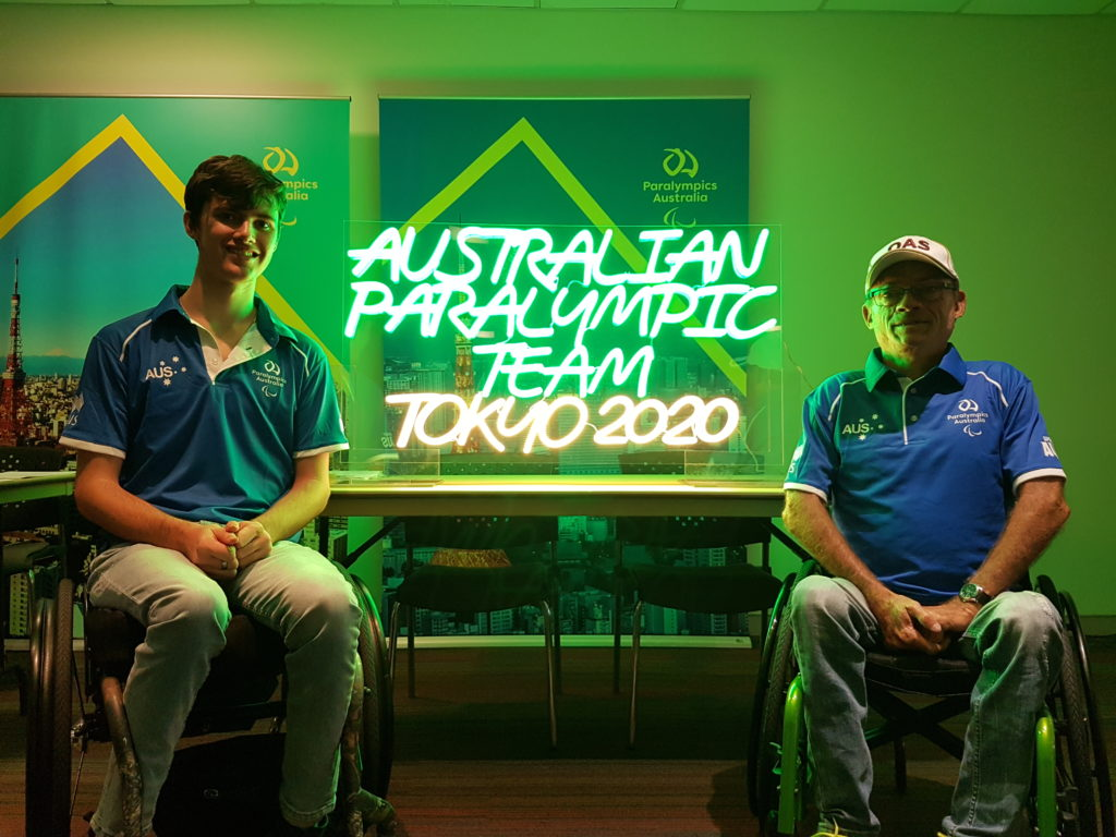 Local wheelchair athlete Nathan Donaldson met with Bundaberg Para shooter Chris Pitt during a Paralympics Australia presentation.