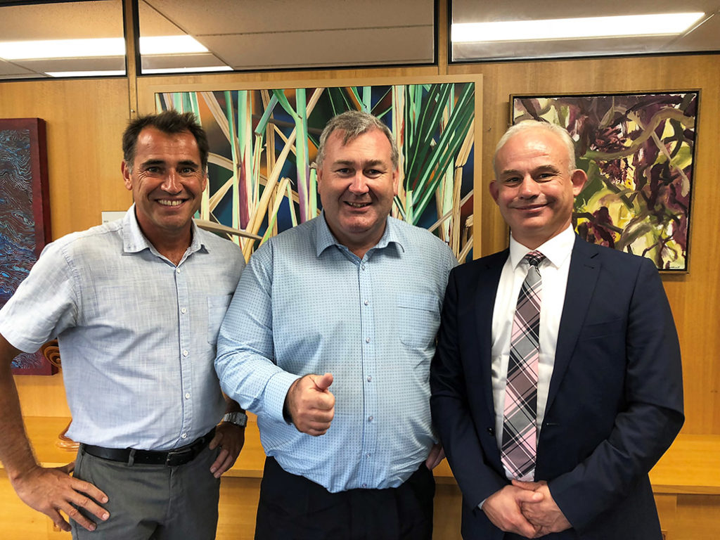 Surfing Scientist Ruben Meerman, Mayor Jack Dempsey and QUT Professor Neil King