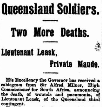 Report from The Telegraph, 23 August 1900, regarding the death of John Leask in the Anglo Boer War