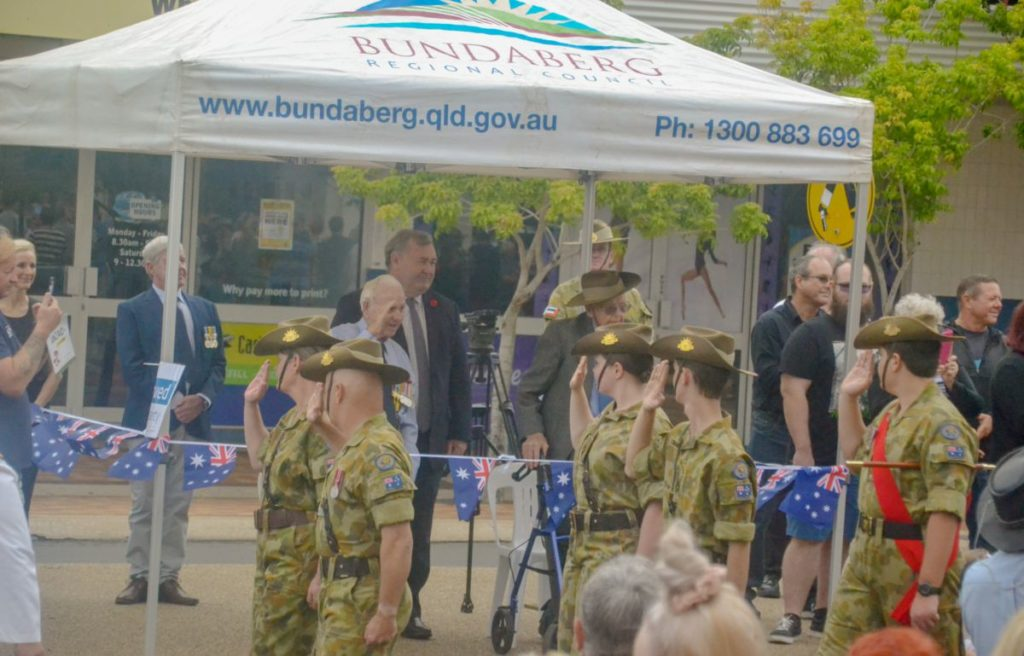 World War II veteran Fred Bainbridge took the salute during the Bundaberg Civic Service parade.