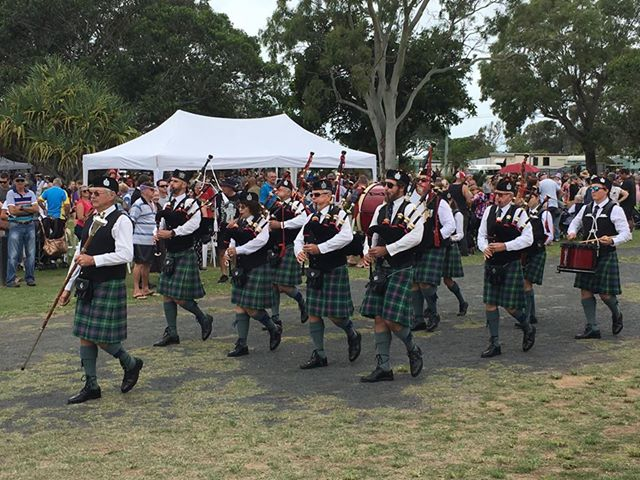 Bundaberg Caledonian Pipe Band at the Moore Park Beach Anzac Day civic service.