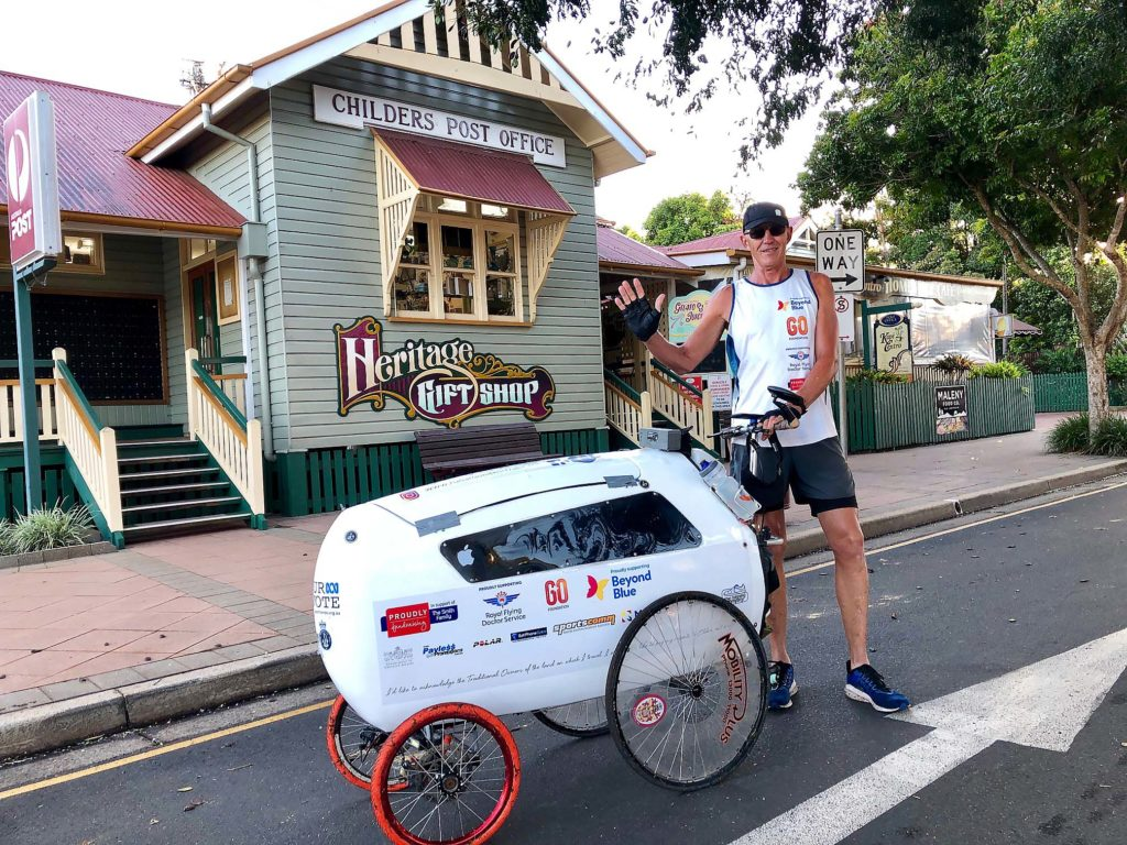 Hi from Childers! Around Australia runner Andre Jones sets out from Childers this morning on day 60 of his marathon run.