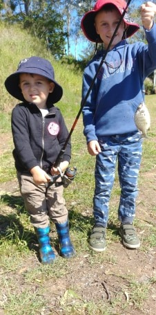 Hudson and Harry Schiffke are proud of their catch!