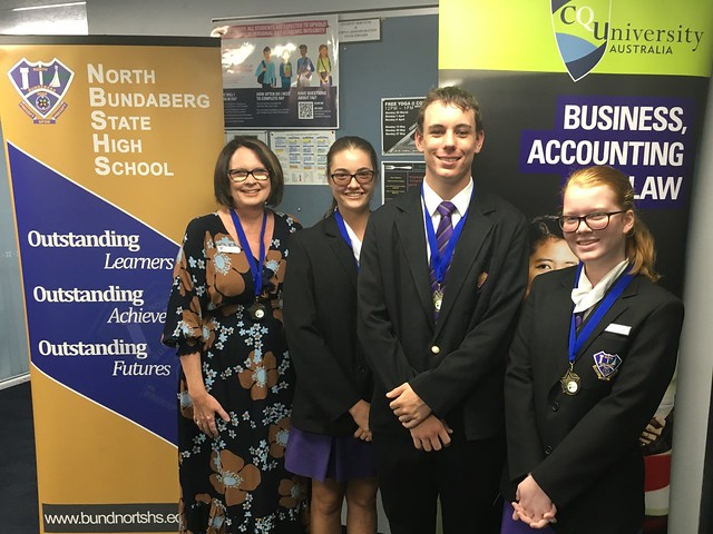 Pictured at CQUniversity Bundaberg are Keri Jensen (HOD Technologies) with Year 12 Students Billie Morgan, Jackson Paul and Isabella Murdoch