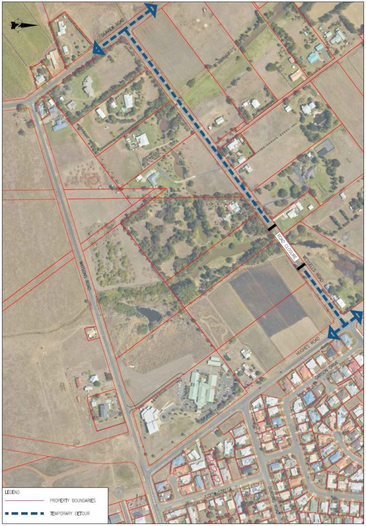 The Detour Layout Plan for the Wessells Road closure as part of the Hughes Road extension project, north-south link.
