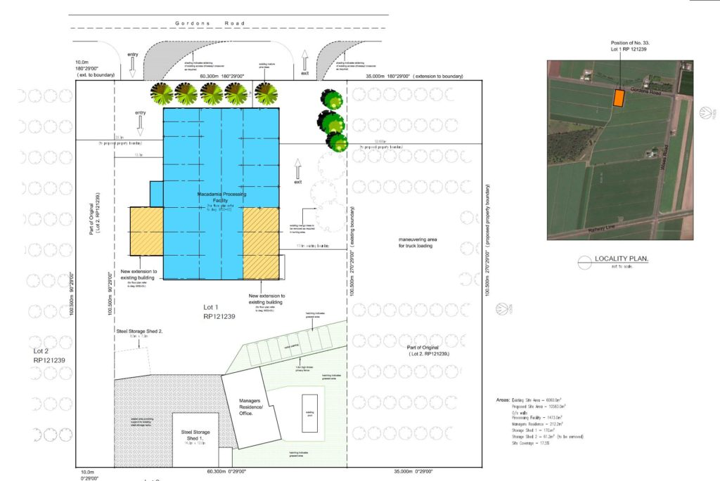 Plans for the macadamia processing facility.