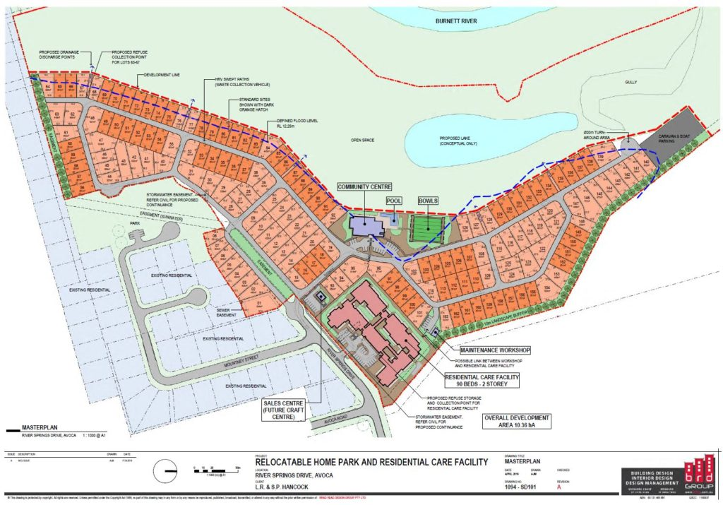 Site plan for the proposed aged care facility and lifestyle village on River Springs Drive, Avoca