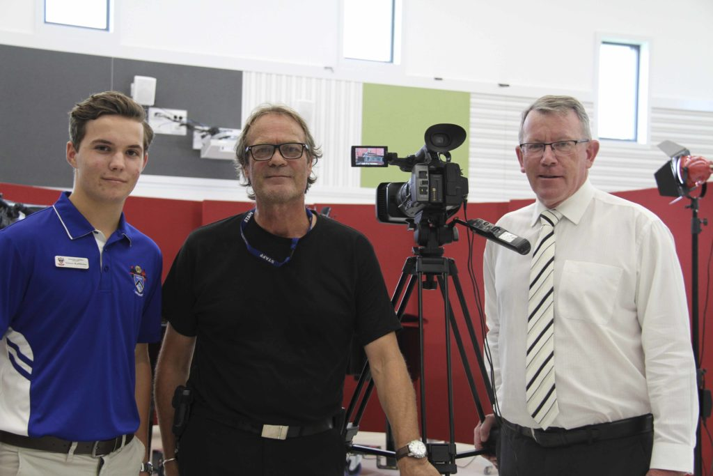 Simon Rathbone, Murray Page and Principal Dan McMahon on set during production of the next episode of Shalom TV