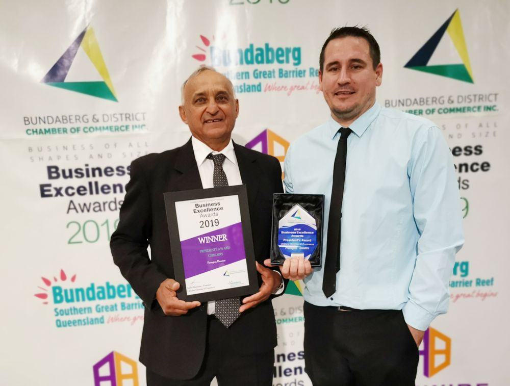 Childers Chamber president's award to Paragon Theatre for local business of the year