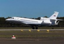 The new RAAF Dassault Falcon 7X aircraft landed at Bundaberg Airport for the first time on Monday, 6 May.