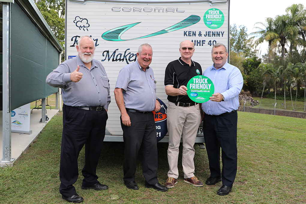 Cr Bill Trevor, Cr Steve Cooper, program founder Ken Wilson and Mayor Jack Dempsey at the national launch of the Truck Friendly Program.