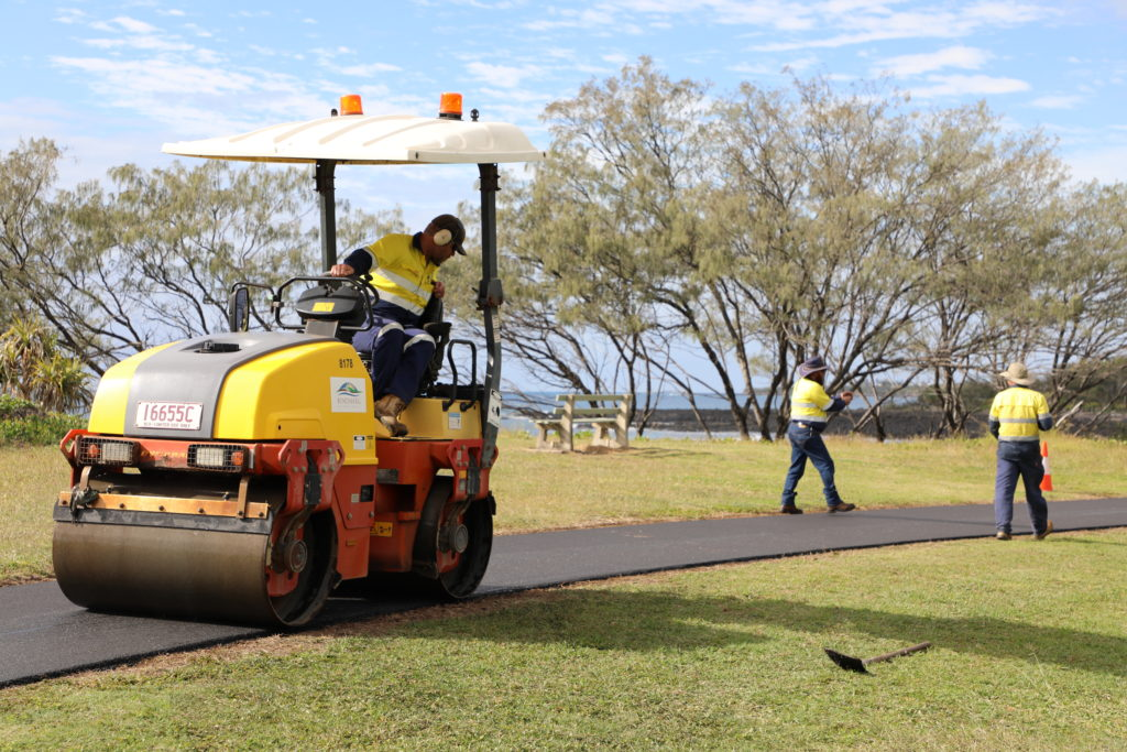 Council staff have been working to resurface a section of the turtle trail between Mon Repos and the Burnett Heads esplanade