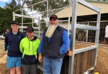 Shane Kenny and Chavez Walters with teacher Dan Matthew in front of the new cattle loading ramp they built at the Gin Gin Showgrounds.