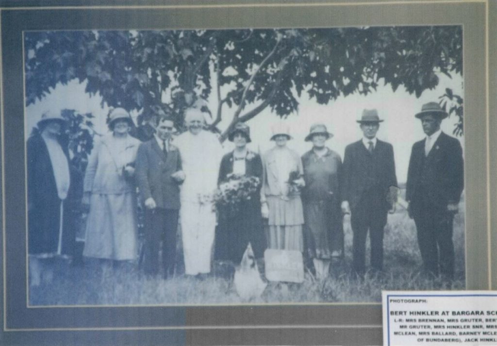 "A picture of Bert Hinkler at a ""blessing"" for the Bargara candlenut tree in 1928"