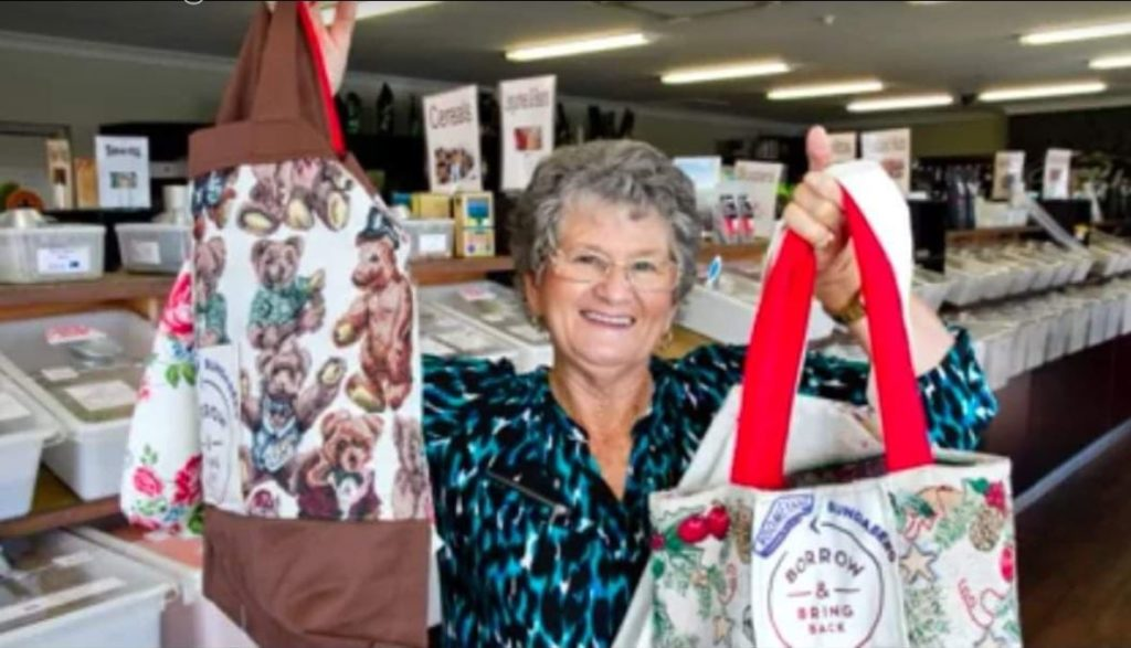 Pam Twyford has almost reached her goal of making 4670 reusable bags for Boomerang Bags Bundaberg.