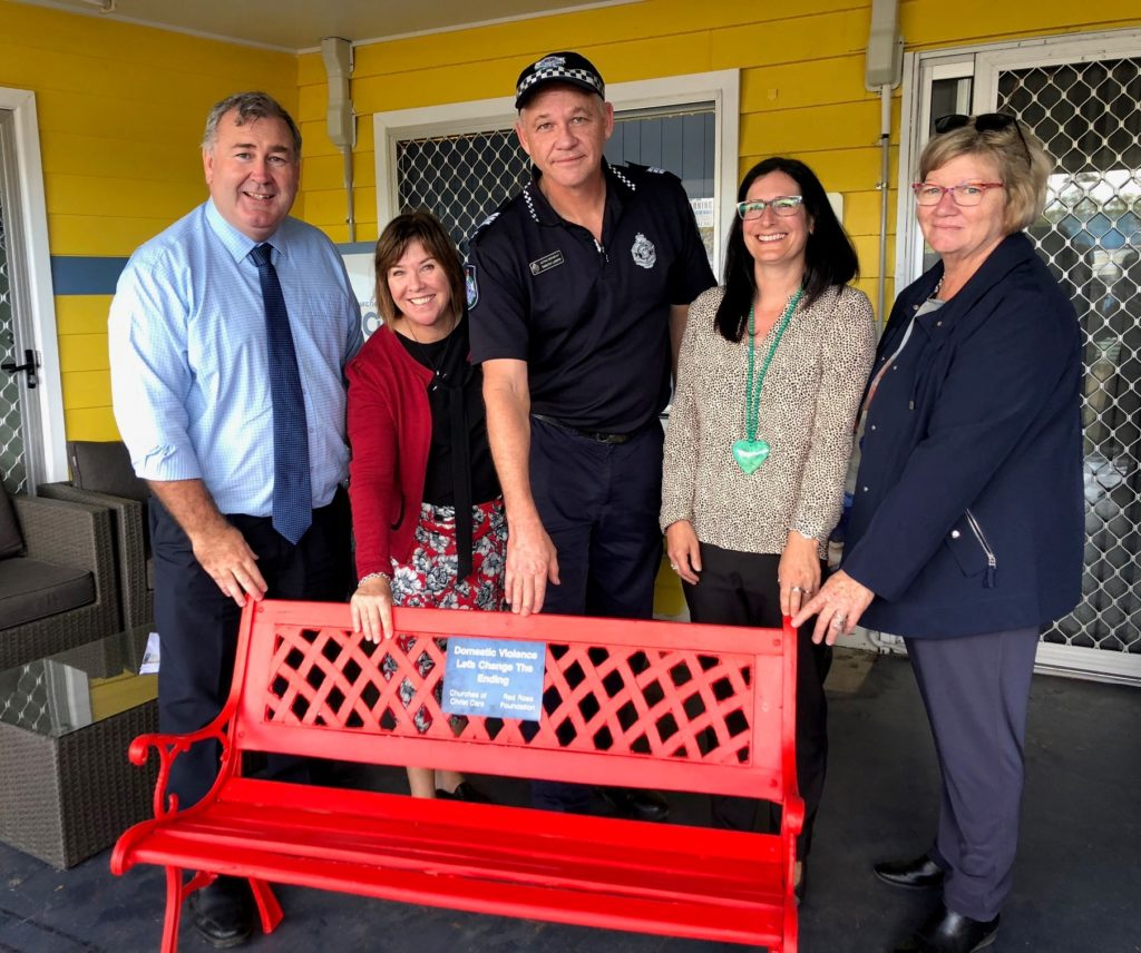 Red Bench supporters: Bundaberg Region Mayor Jack Dempsey and Acting Sergeant Tim Lowth with Churches of Christ Care staff.
