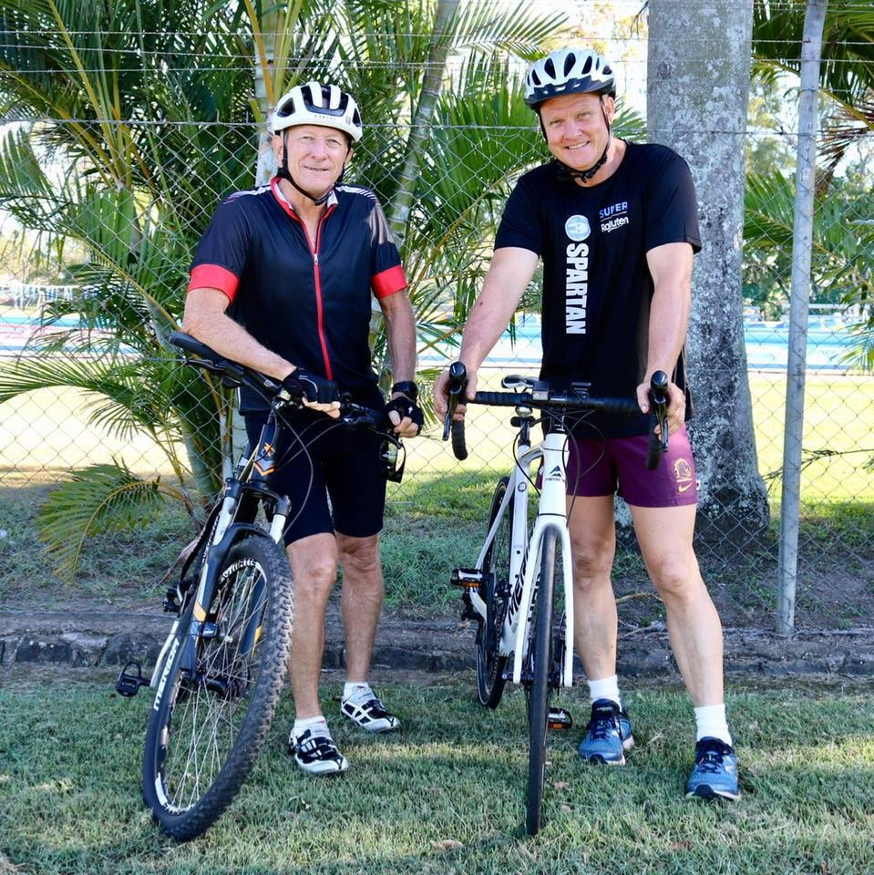 Dave Quaile and John Locke embarking on a cancer research ride.