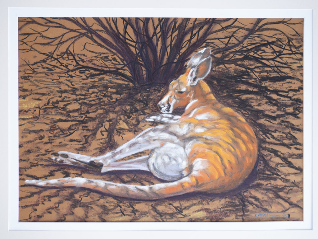 Suzanne Robinson's bush pastels artwork of a doe kangaroo.