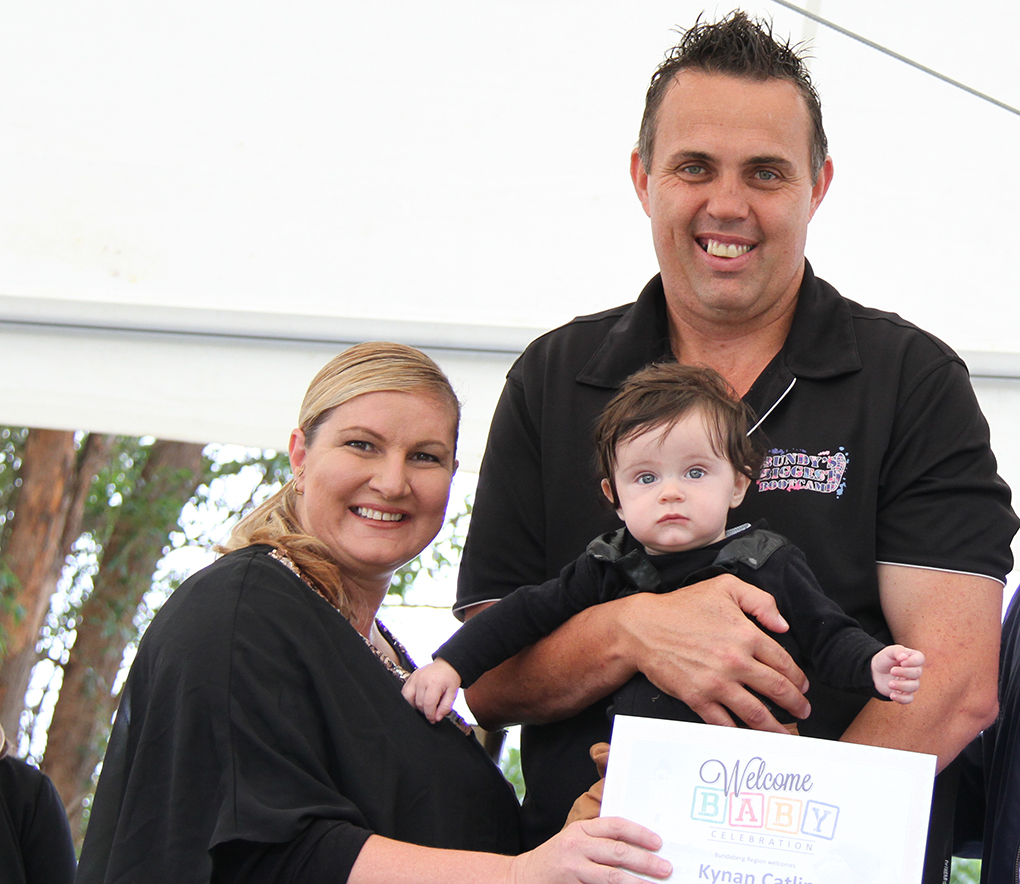 The Catlin family at the Bundaberg Welcome Baby Celebration