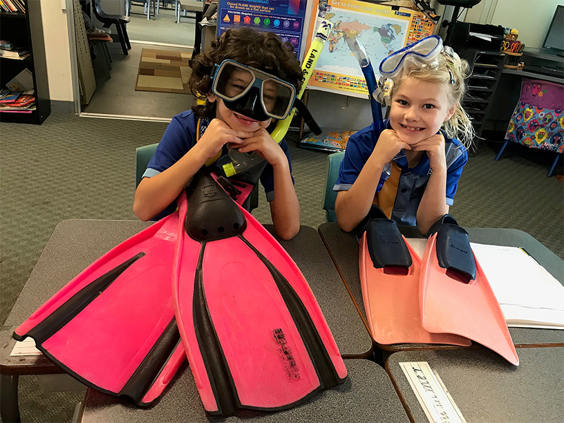 Tilly Walmsley and Christopher Devon-Kontoleon are ready for their virtual dive adventure.