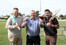 undaberg Cricket Association Treasurer Shaun Rose, Mayor Jack Dempsey and Bulls Masters Managing Director Jimmy Maher are excited that the Bulls Masters Country Challenge is coming to Bundaberg.