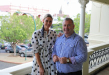 Pop Up Polo ambassador Kimberley Busteed and Mayor Jack Dempsey launch Pop Up Polo Bundaberg.