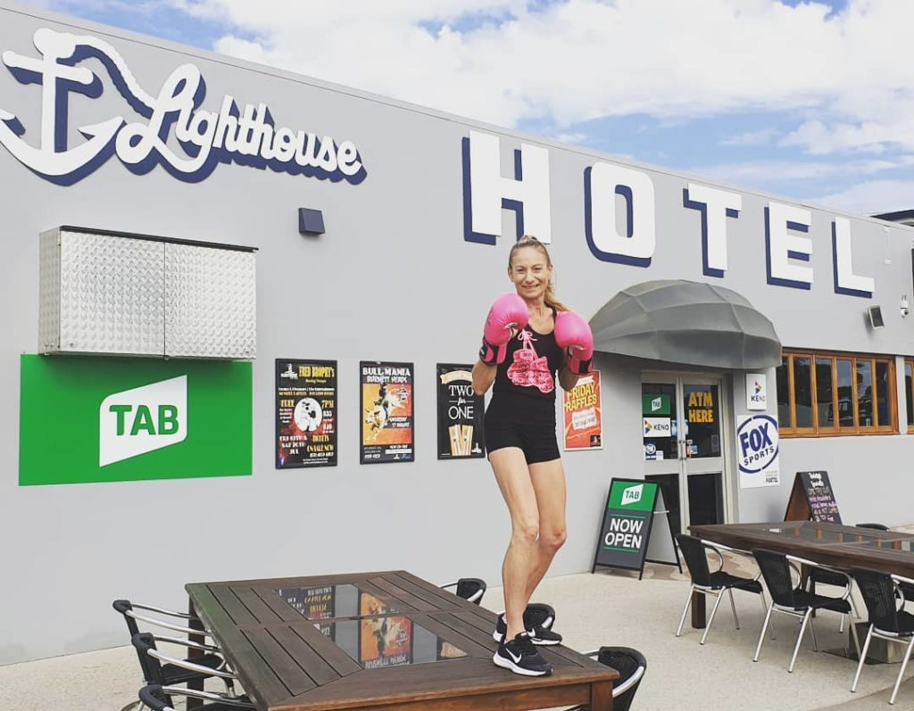 "Lighthouse Hotel bar staff ""Killer"" Kiley Dean will put on the pink gloves at the 2019 Fred Brophy's Boxing Troupe at the Lighthouse Hotel."