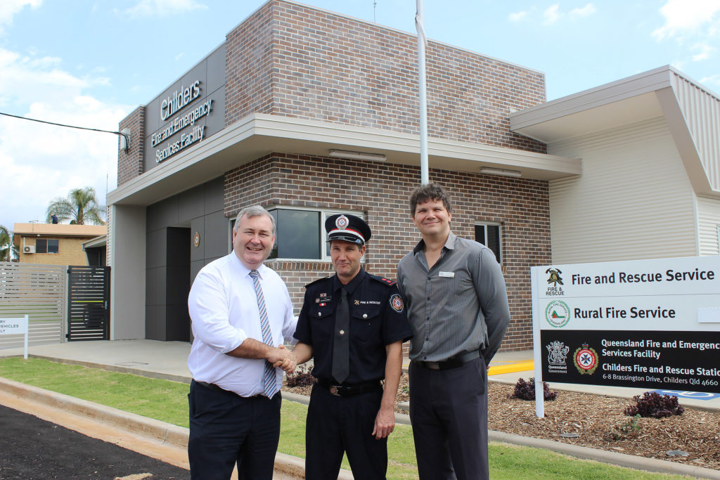 Childers Fire Station opening in 2018. Mayor Jack Dempsey, OIC Childers Station Capt. Martin Bettridge and disaster management officer Matt Dyer