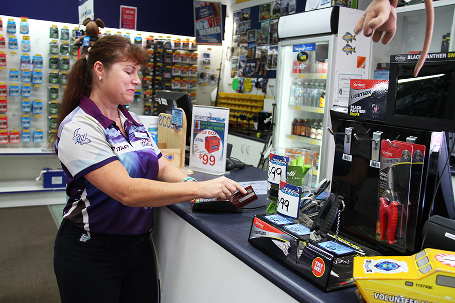 Lenore Hanks from Tackle World Bundaberg said businesses needed to be cautious about credit card fraud.