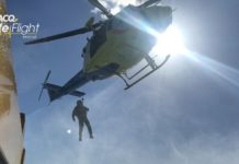 RACQ LifeFlight Rescue winch training. Courtesy RACQ LifeFlight Rescue