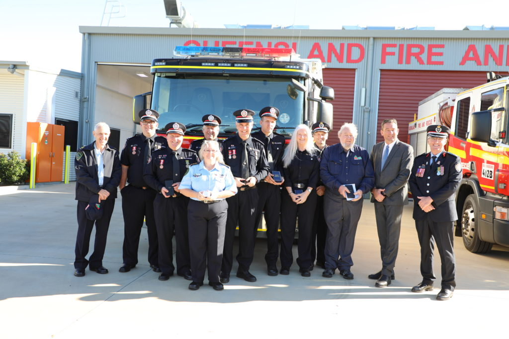 Nine Bundaberg Firefighters were honoured with service medals in Bundaberg today