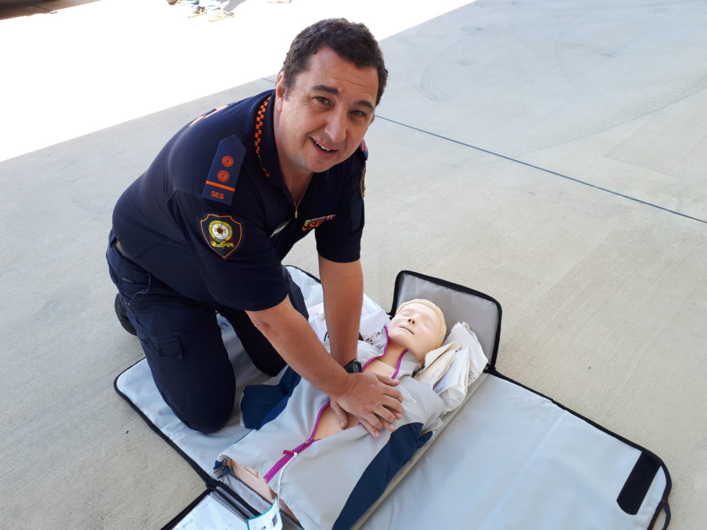 SES Deputy Local Controller Luke Harding with the new Resusci Anne that rates CPR performance