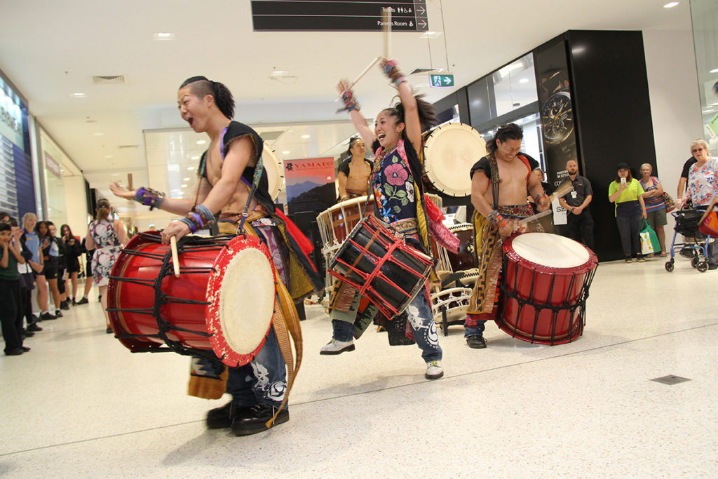 Yamato Drummers: The group performing at the Hinkler Central today.