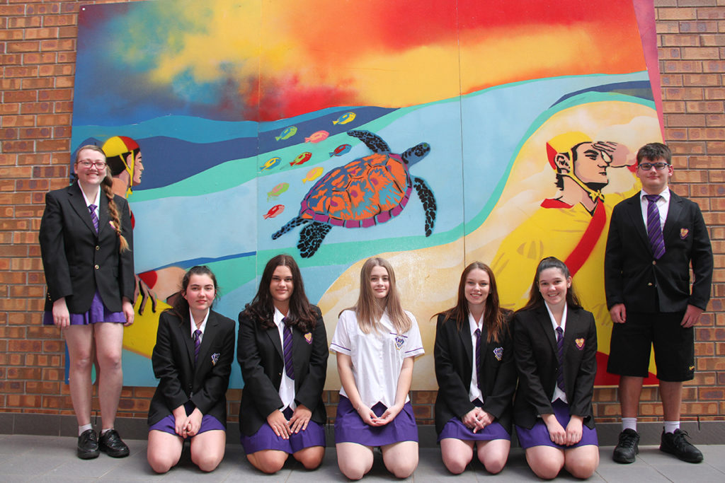 Friendly Mural: North Bundaberg High School and Bundaberg Christian College Students with their artwork at the Friendlies hospital.